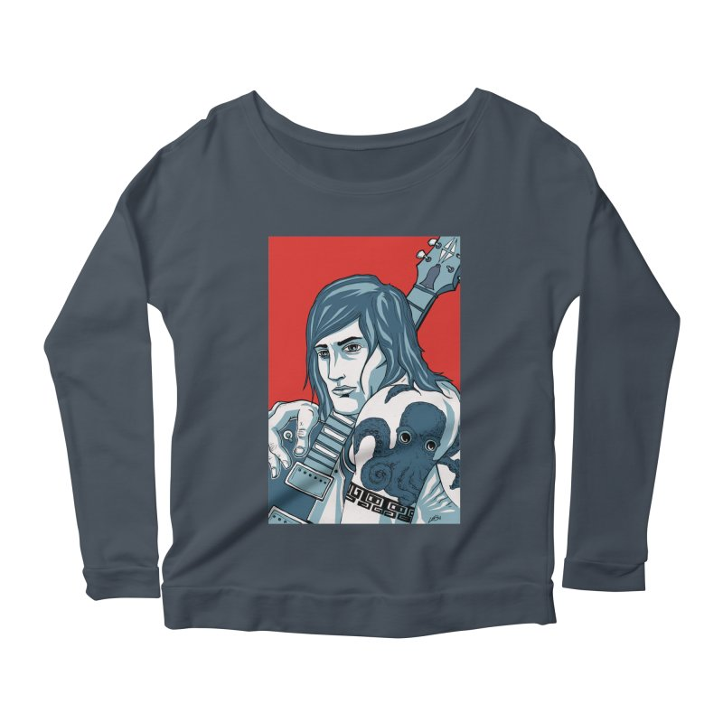 Pretentious Record Store Guy Heartthrob T-shirt Women's Scoop Neck Longsleeve T-Shirt by Brain Cloud Comics' Artist Shop for Cool T's