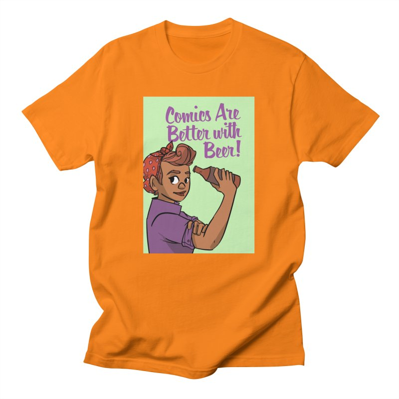Comics Are Better with Beer Men's T-Shirt by Brain Cloud Comics' Artist Shop for Cool T's