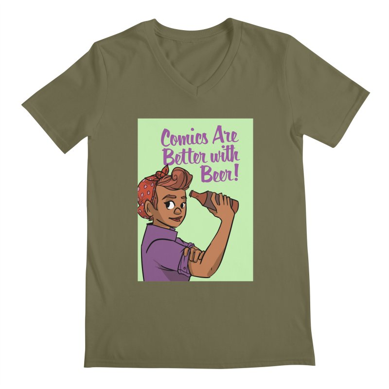 Comics Are Better with Beer Men's Regular V-Neck by Brain Cloud Comics' Artist Shop for Cool T's