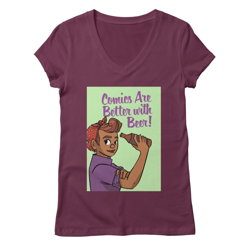 Comics Are Better with Beer Women's Regular V-Neck by Brain Cloud Comics' Artist Shop for Cool T's