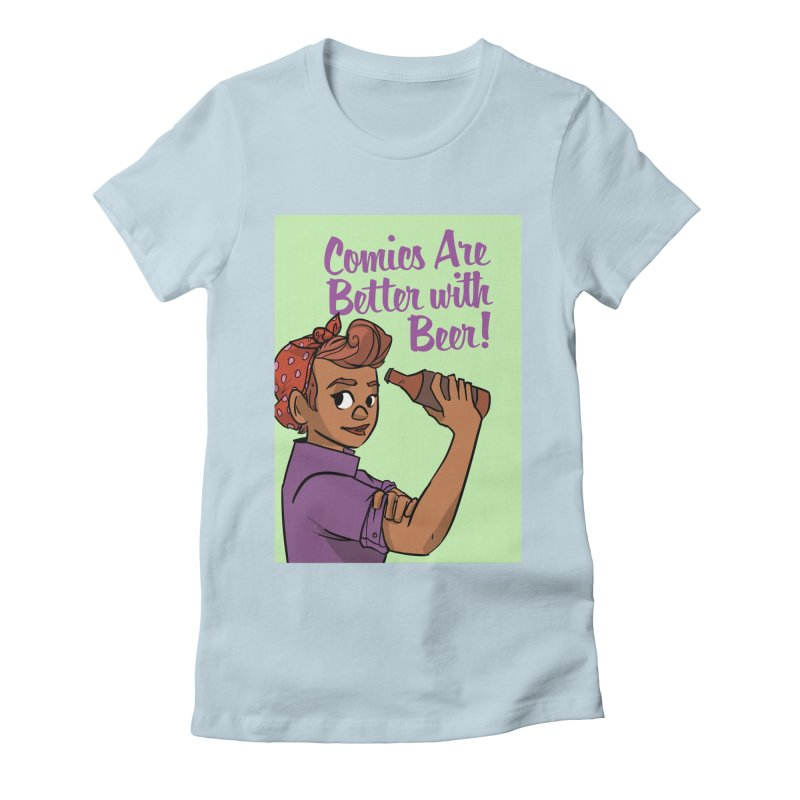 Comics Are Better with Beer Women's Fitted T-Shirt by Brain Cloud Comics' Artist Shop for Cool T's