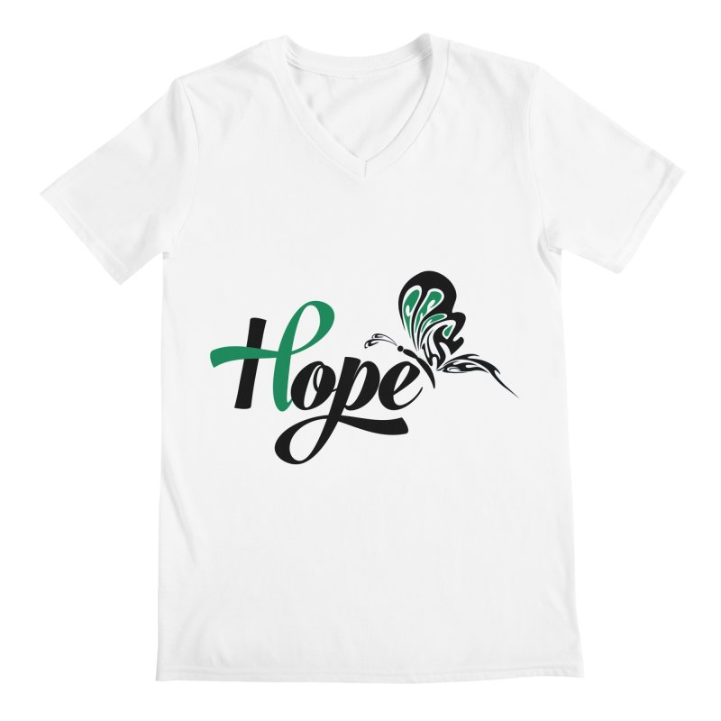 Hope in Men's Regular V-Neck White by Brain Injury Services Shop