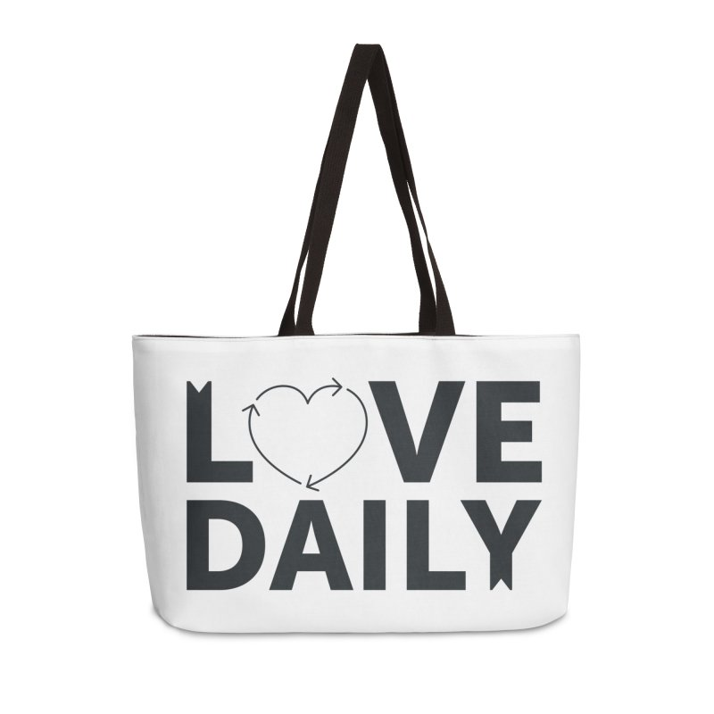 Love Daily- black text Accessories Bag by brandongarrison's Artist Shop