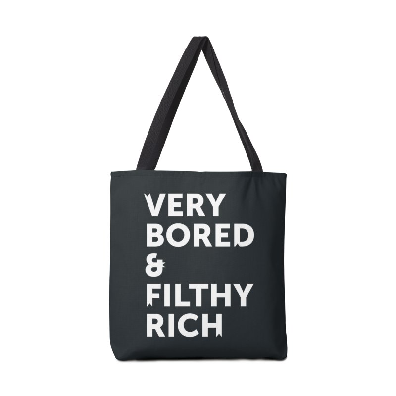 The Very Bored Rich— white text Accessories Bag by brandongarrison's Artist Shop