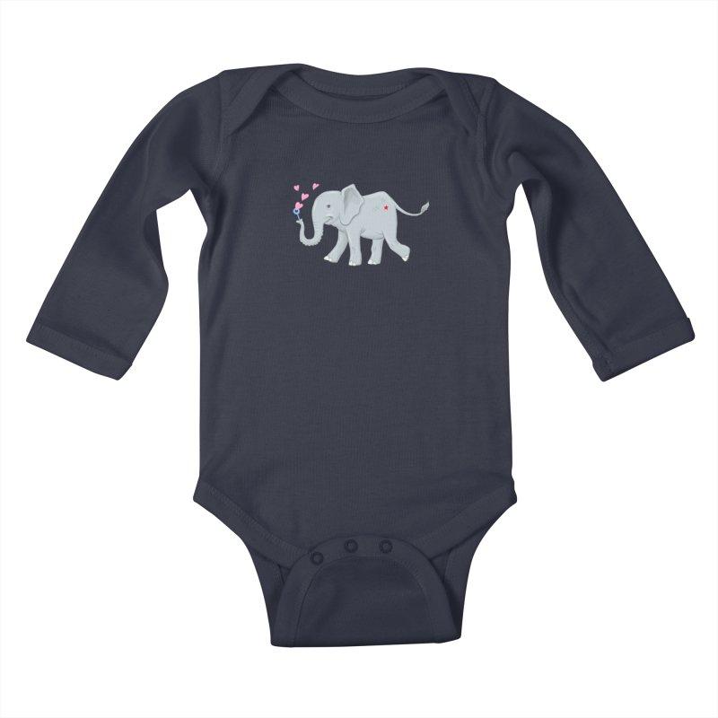 Elephant Bubbles Kids Baby Longsleeve Bodysuit by brandongarrison's Artist Shop