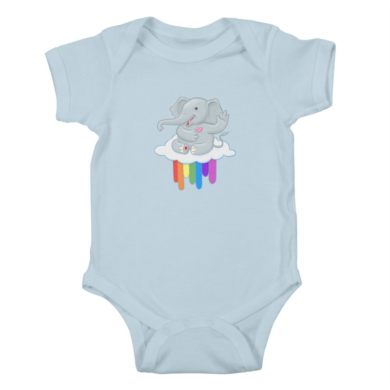 Rainbow Elephant Kids Baby Bodysuit by brandongarrison's Artist Shop