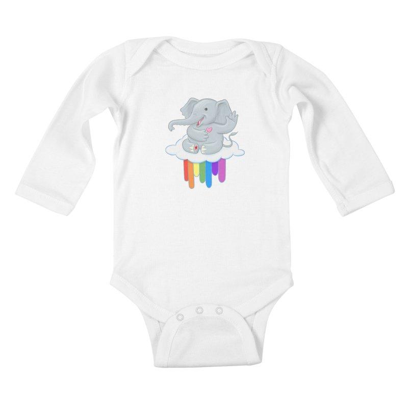 Rainbow Elephant Kids Baby Longsleeve Bodysuit by brandongarrison's Artist Shop