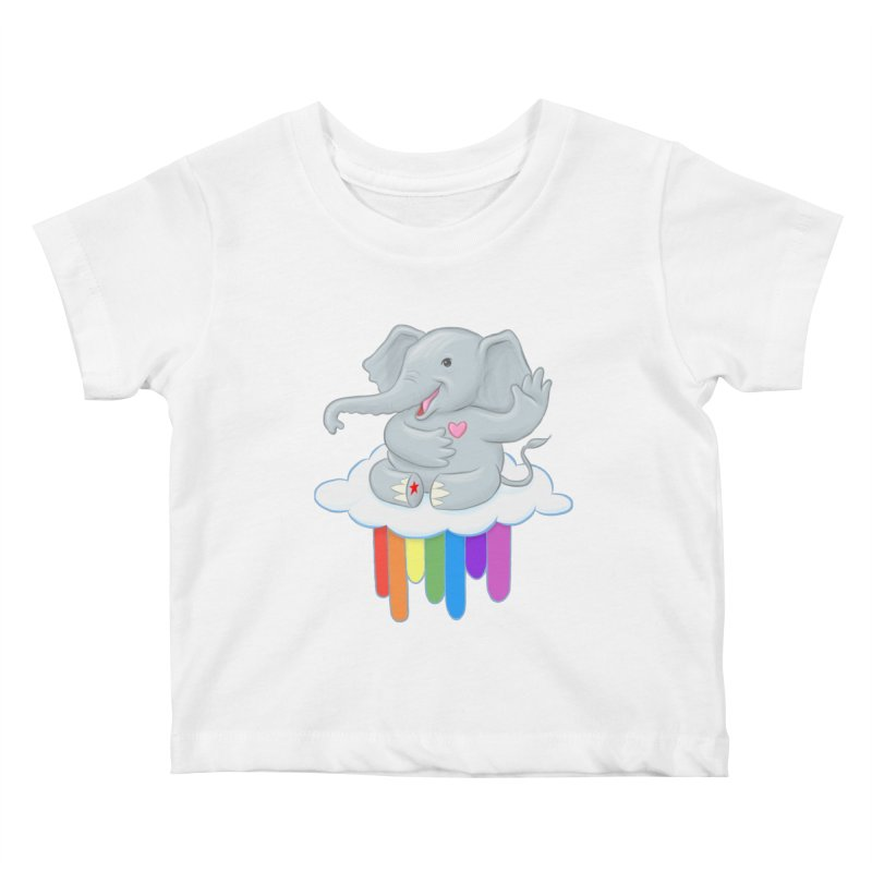Rainbow Elephant Kids Baby T-Shirt by brandongarrison's Artist Shop
