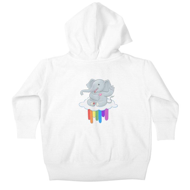 Rainbow Elephant Kids Baby Zip-Up Hoody by brandongarrison's Artist Shop