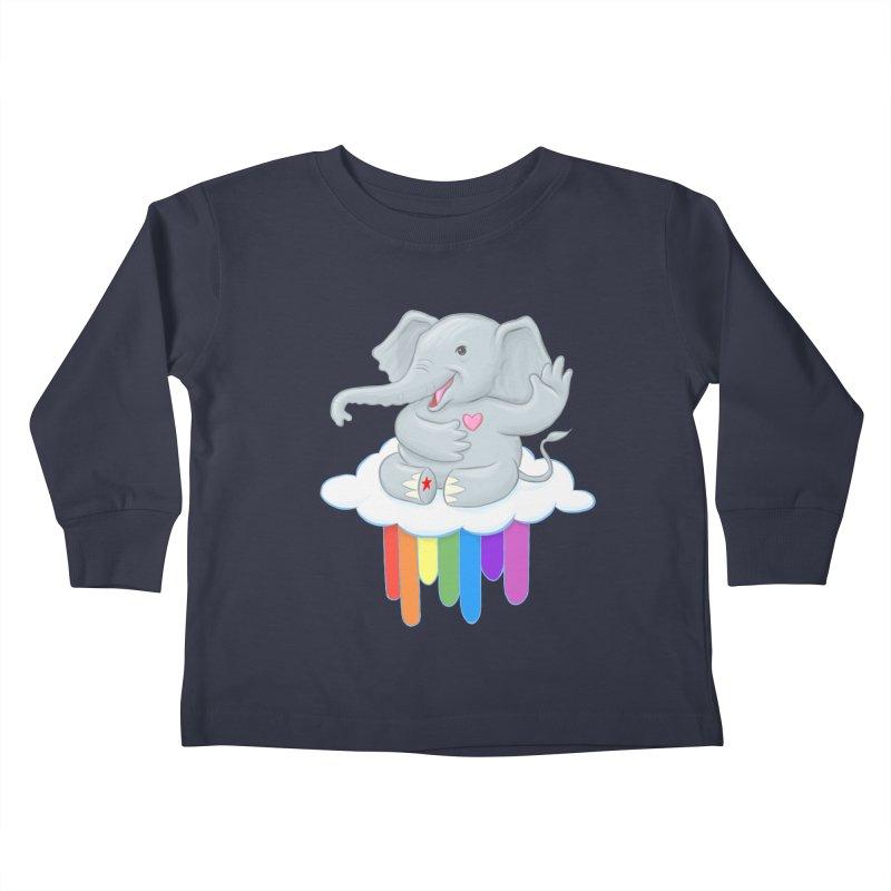 Rainbow Elephant Kids Toddler Longsleeve T-Shirt by brandongarrison's Artist Shop