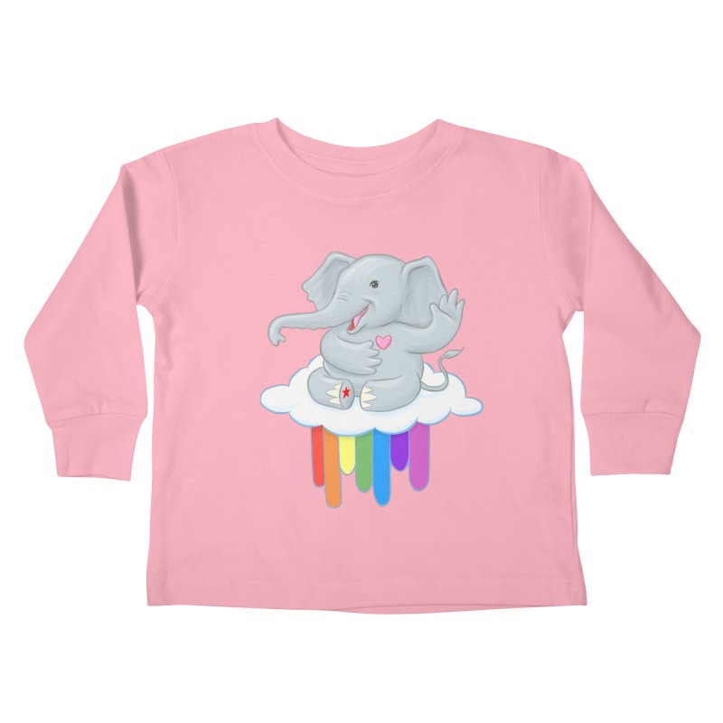 Rainbow Elephant Kids Toddler Longsleeve T-Shirt by brandongarrison's Artist Shop
