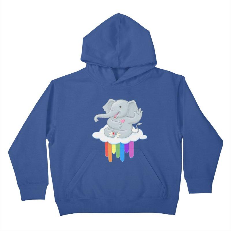 Rainbow Elephant Kids Pullover Hoody by brandongarrison's Artist Shop