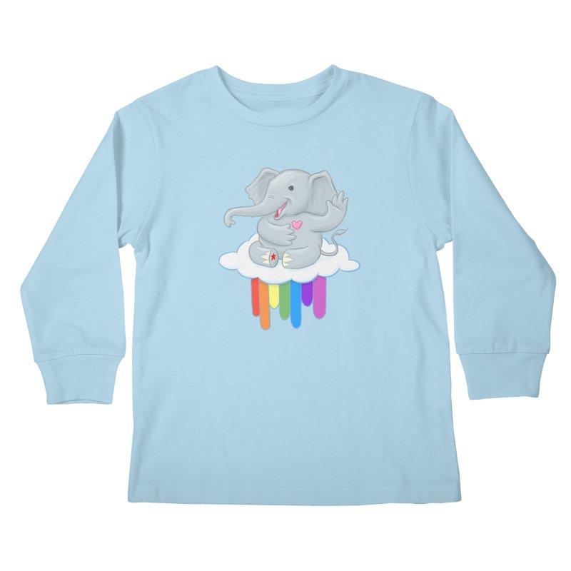 Rainbow Elephant Kids Longsleeve T-Shirt by brandongarrison's Artist Shop