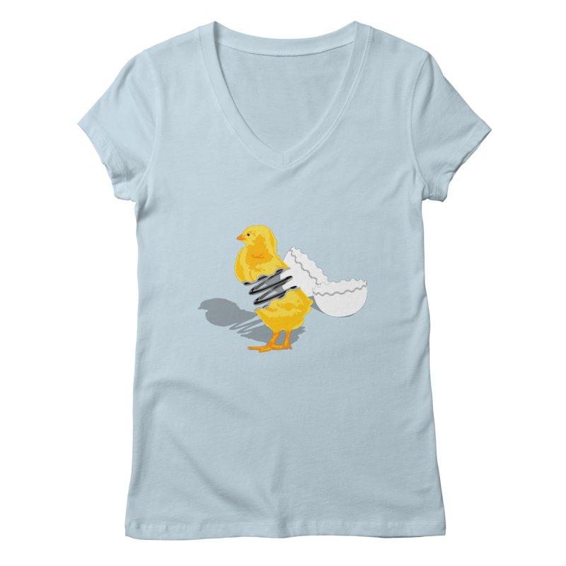 Spring Chicken Women's V-Neck by brandonjw's Artist Shop