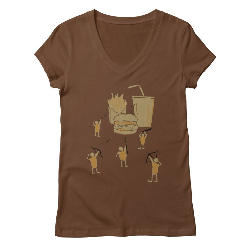 Hunting Party Finds Fast Food Women's V-Neck by brandonjw's Artist Shop