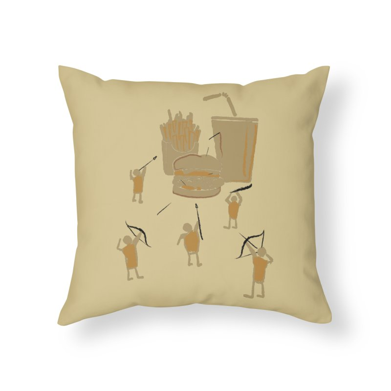 Hunting Party Finds Fast Food Home Throw Pillow by brandonjw's Artist Shop