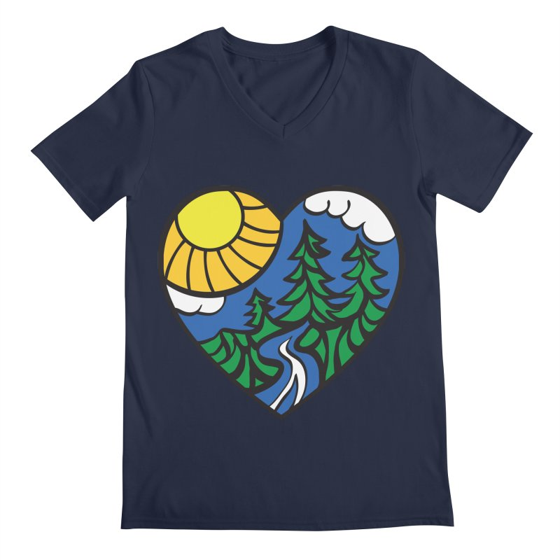 The Great Outdoors Men's V-Neck by Wood-Man's Artist Shop