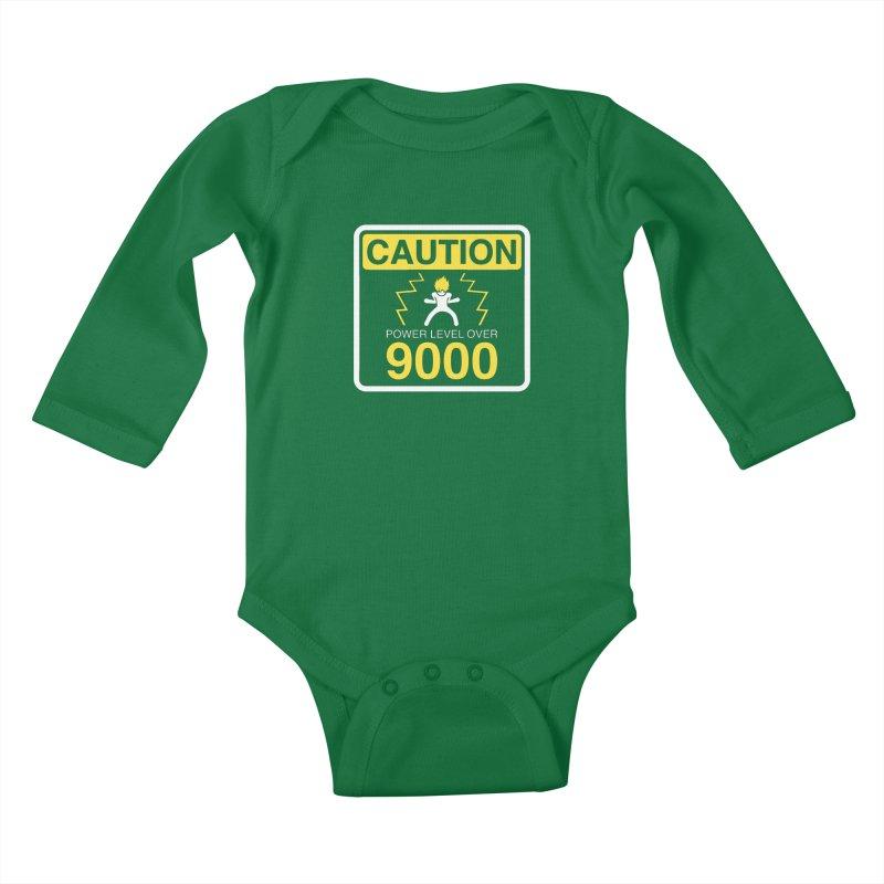 CAUTION: Power Level Over 9000 Kids Baby Longsleeve Bodysuit by Wood-Man's Artist Shop