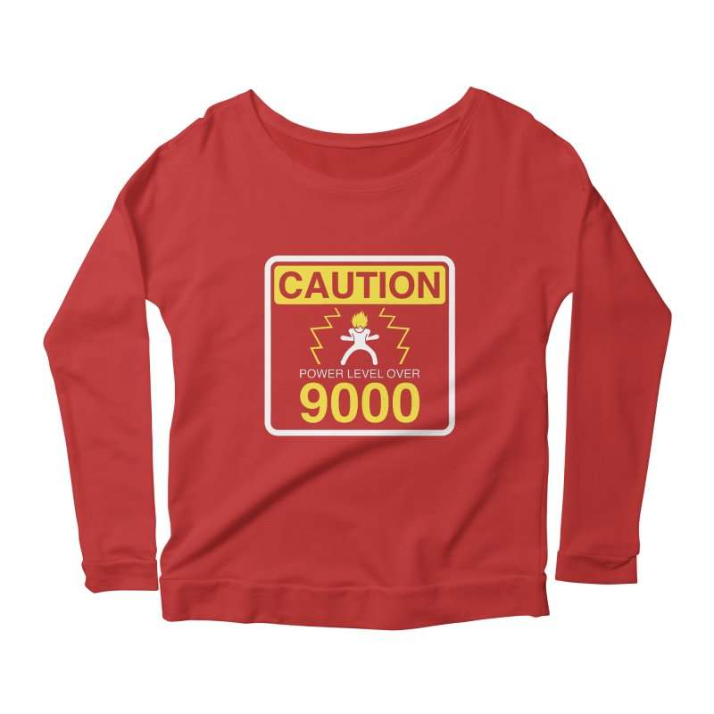 CAUTION: Power Level Over 9000 Women's Longsleeve Scoopneck  by Wood-Man's Artist Shop