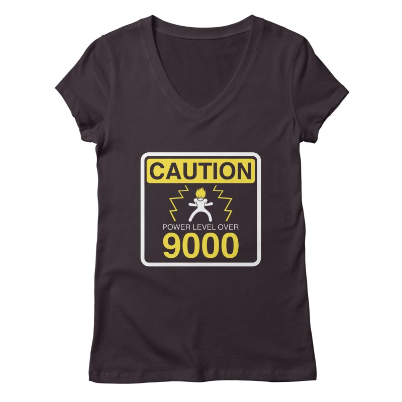 CAUTION: Power Level Over 9000 Women's V-Neck by Wood-Man's Artist Shop