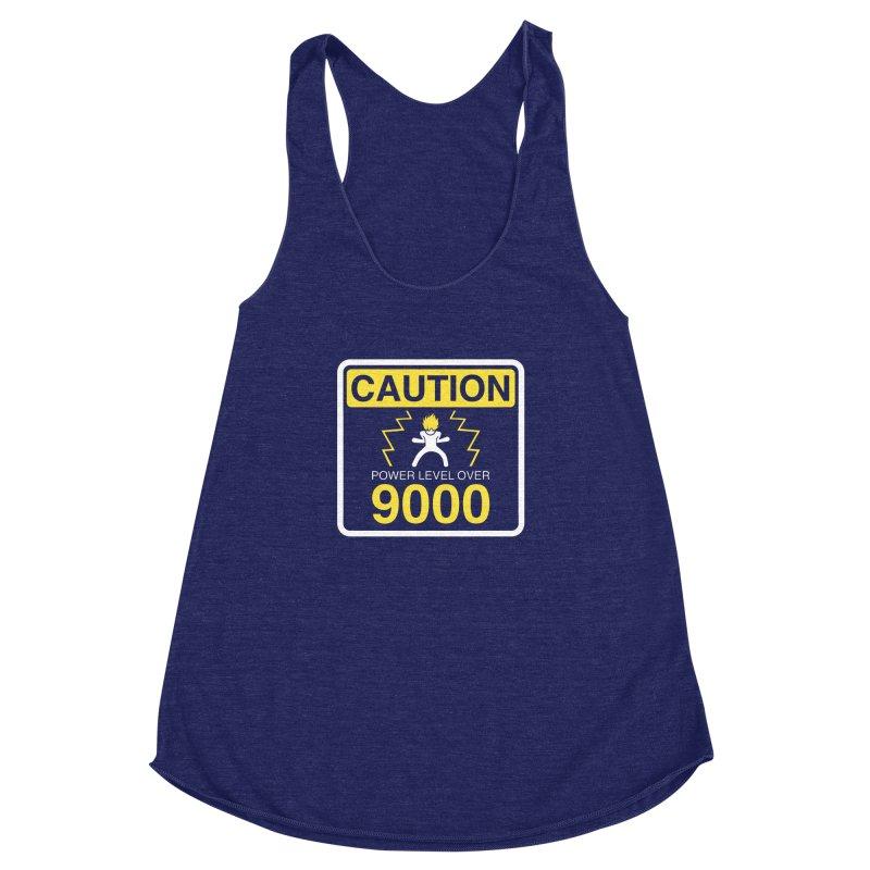 CAUTION: Power Level Over 9000 Women's Racerback Triblend Tank by Wood-Man's Artist Shop