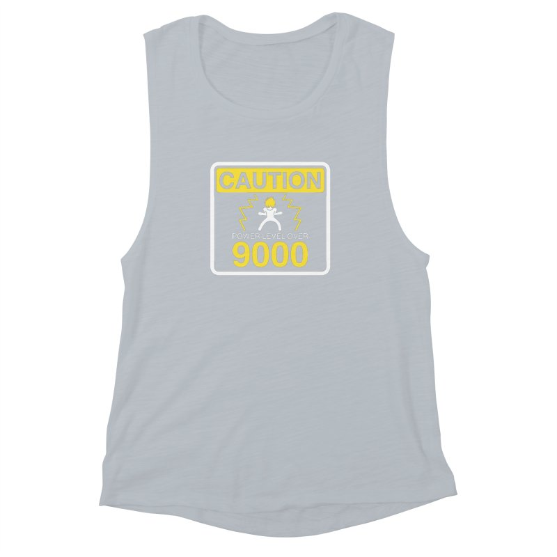 CAUTION: Power Level Over 9000 Women's Muscle Tank by Wood-Man's Artist Shop