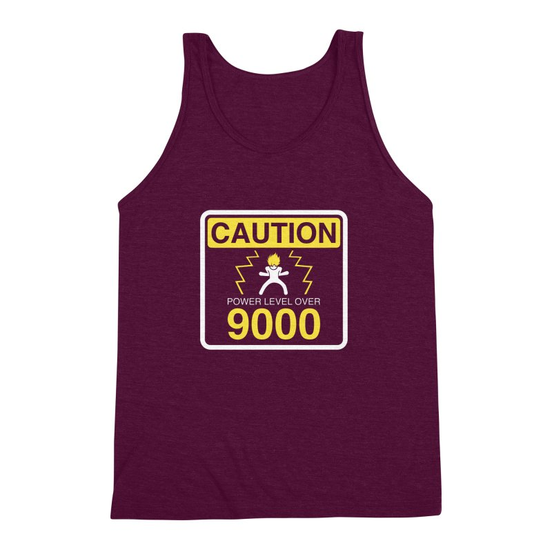 CAUTION: Power Level Over 9000 Men's Triblend Tank by Wood-Man's Artist Shop