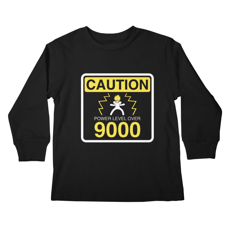CAUTION: Power Level Over 9000 Kids Longsleeve T-Shirt by Wood-Man's Artist Shop
