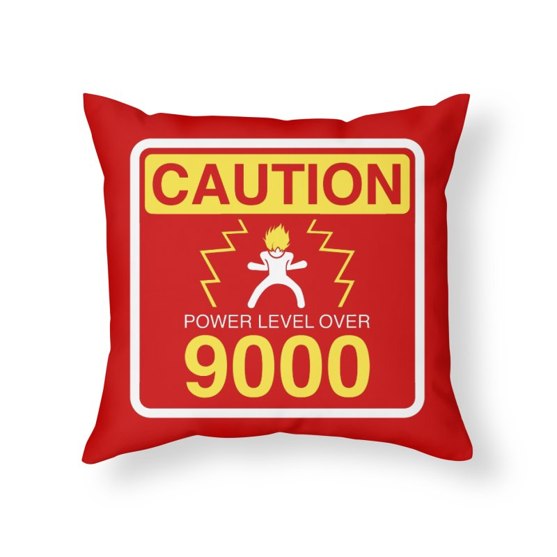 CAUTION: Power Level Over 9000 Home Throw Pillow by Wood-Man's Artist Shop