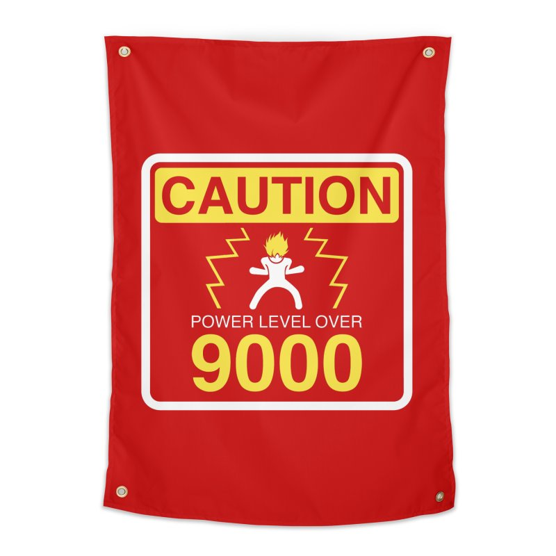 CAUTION: Power Level Over 9000 Home Tapestry by Wood-Man's Artist Shop