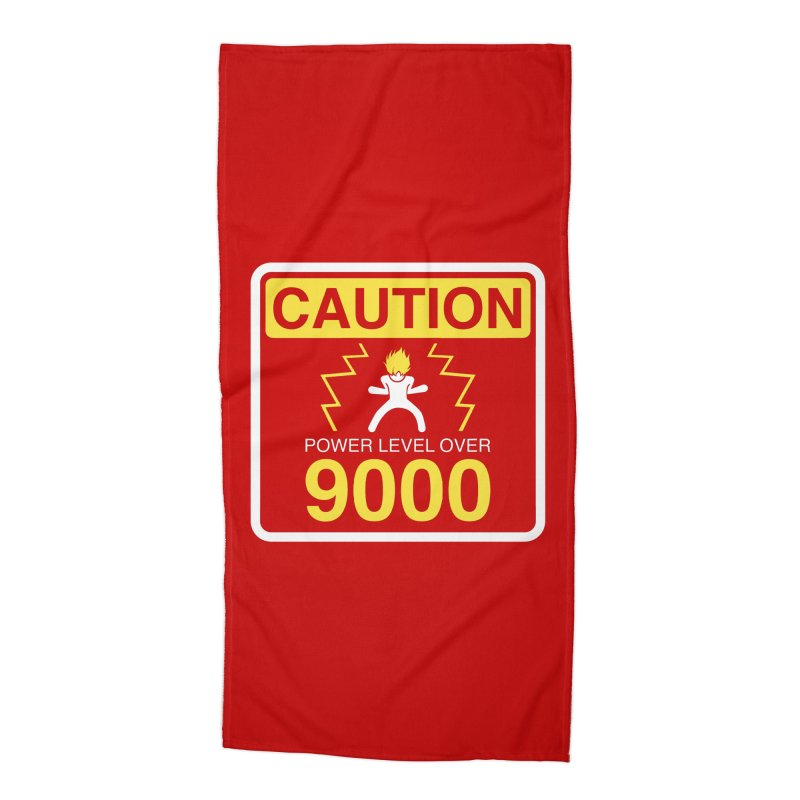 CAUTION: Power Level Over 9000 Accessories Beach Towel by Wood-Man's Artist Shop
