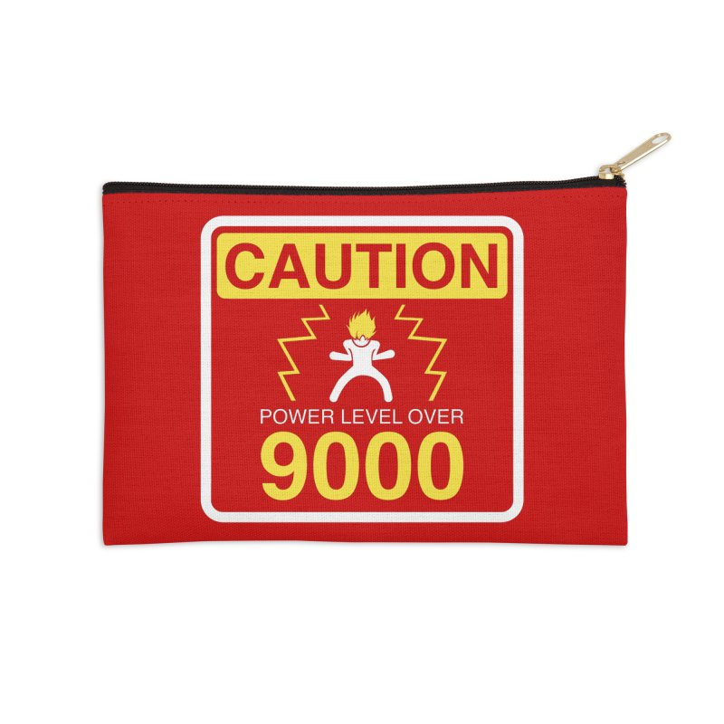 CAUTION: Power Level Over 9000 Accessories Zip Pouch by Wood-Man's Artist Shop