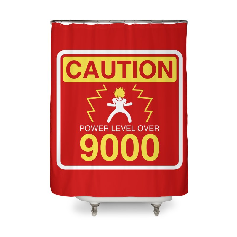CAUTION: Power Level Over 9000 Home Shower Curtain by Wood-Man's Artist Shop