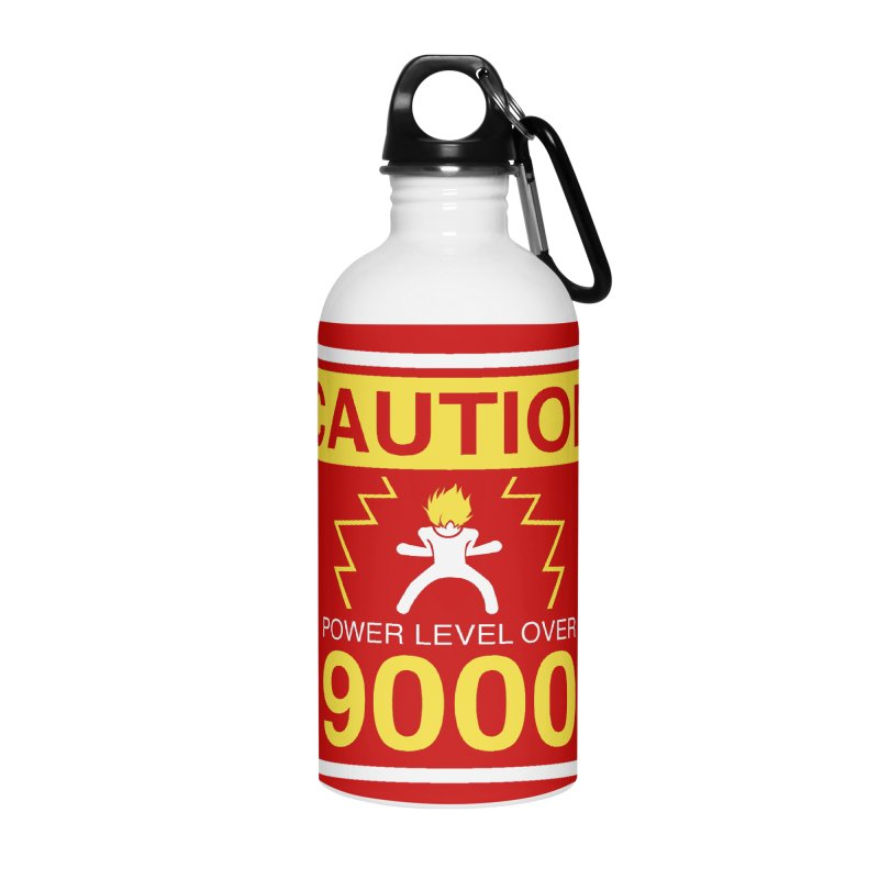 CAUTION: Power Level Over 9000 Accessories Water Bottle by Wood-Man's Artist Shop