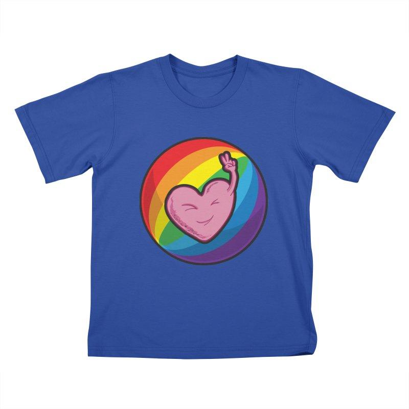 Peace & Love Kids T-shirt by Wood-Man's Artist Shop