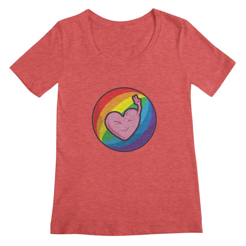Peace & Love Women's Scoopneck by Wood-Man's Artist Shop