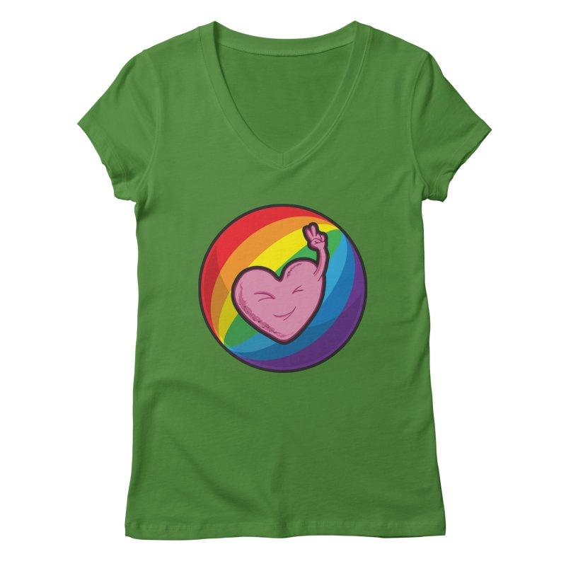 Peace & Love Women's V-Neck by Wood-Man's Artist Shop