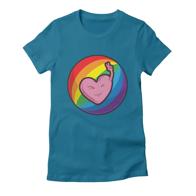 Peace & Love Women's Fitted T-Shirt by Wood-Man's Artist Shop