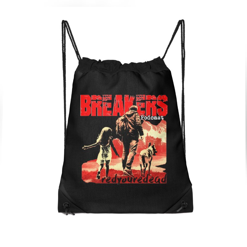 Breakers red design tshirt Accessories Drawstring Bag Bag by breakerspodcast Shop