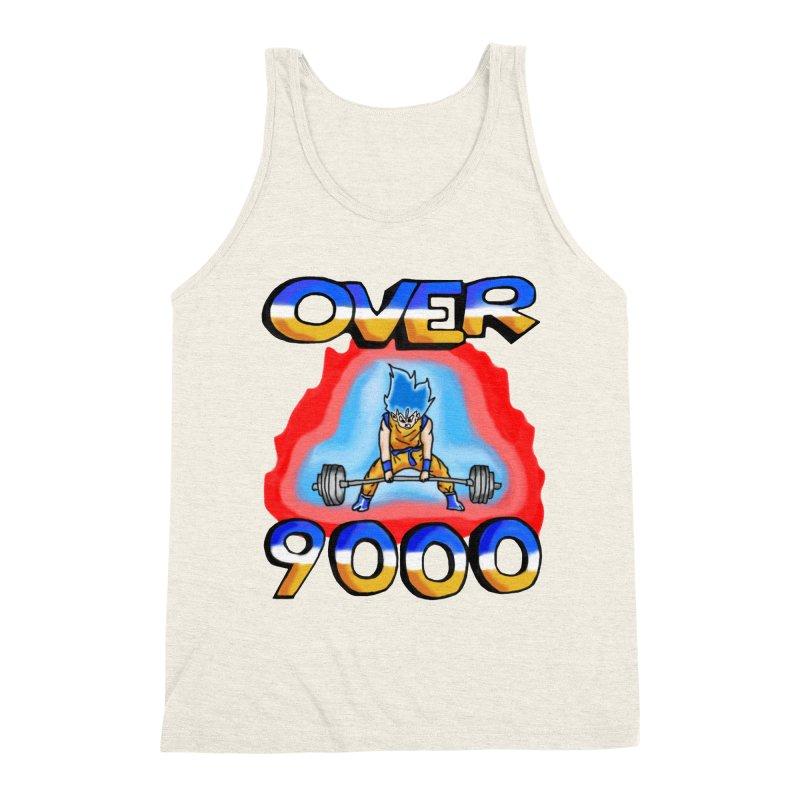 Over 9000 Men's Triblend Tank by Break The Bar