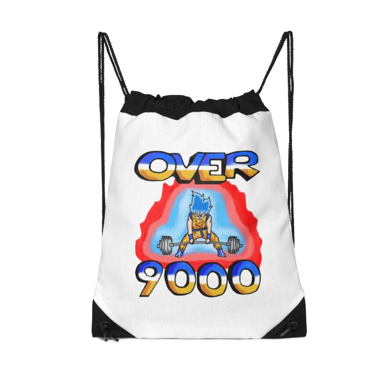 Over 9000 Accessories Drawstring Bag Bag by Break The Bar