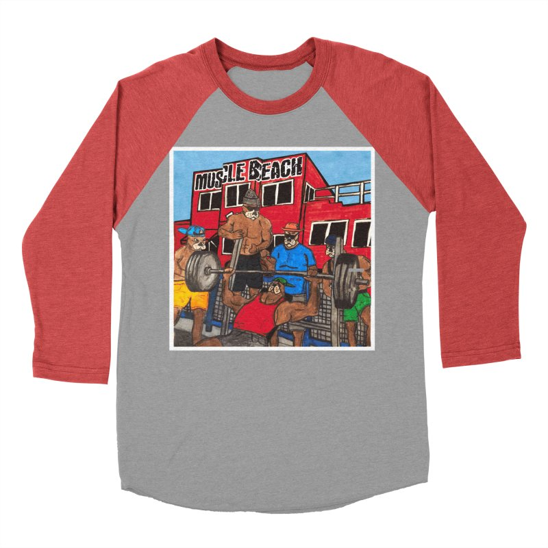 Muscle Beach Men's Baseball Triblend Longsleeve T-Shirt by Break The Bar