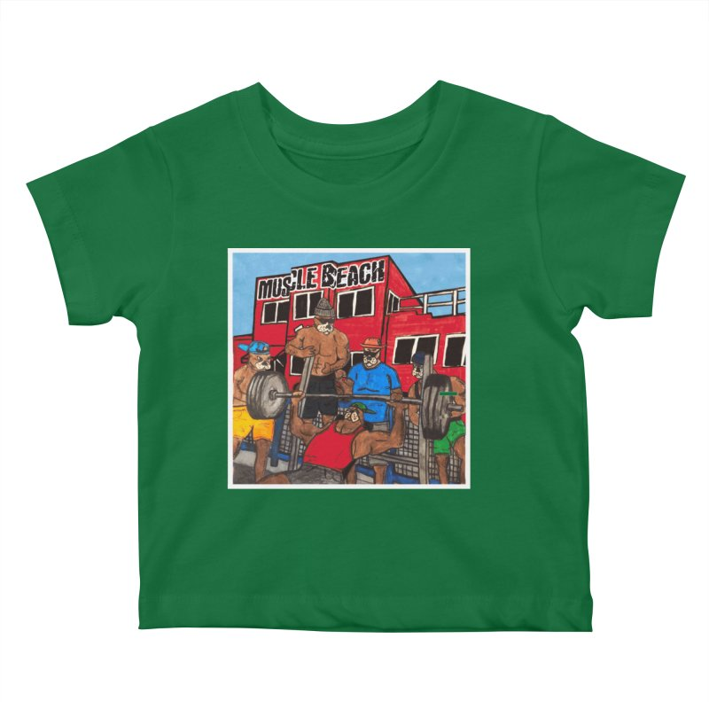 Muscle Beach Kids Baby T-Shirt by Break The Bar