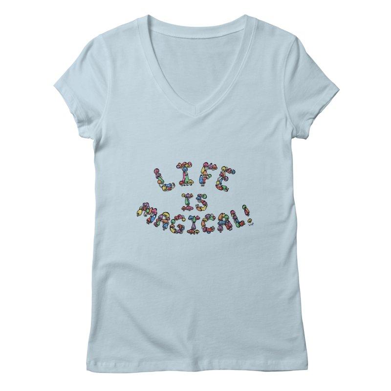 Life is Magical (made of mushrooms) Women's V-Neck by brettgilbert's Artist Shop