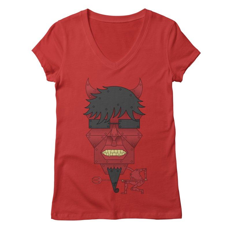 The Devil Women's Regular V-Neck by brettgilbert's Artist Shop