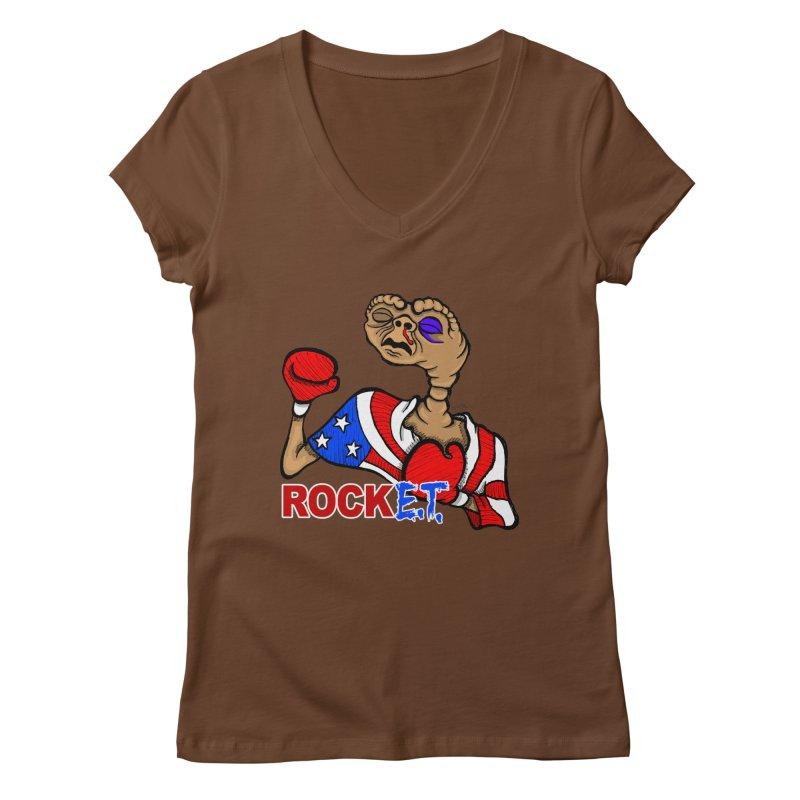 Rock E.T. Women's Regular V-Neck by brettgilbert's Artist Shop