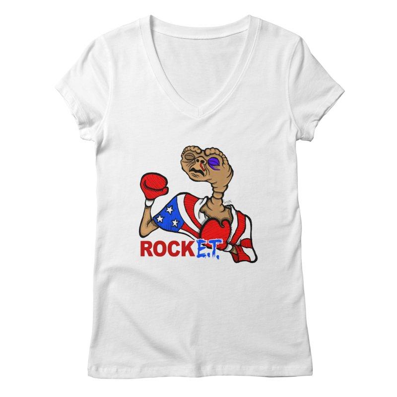 Rock E.T. Women's V-Neck by brettgilbert's Artist Shop