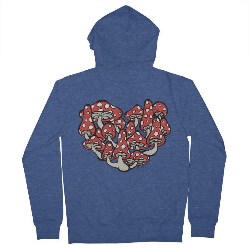 Heart Made of Mushrooms Women's French Terry Zip-Up Hoody by brettgilbert's Artist Shop