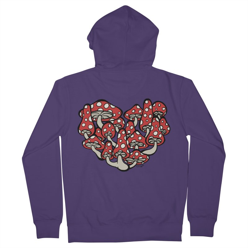 Heart Made of Mushrooms Women's French Terry Zip-Up Hoody by brettgilbert's Artist Shop