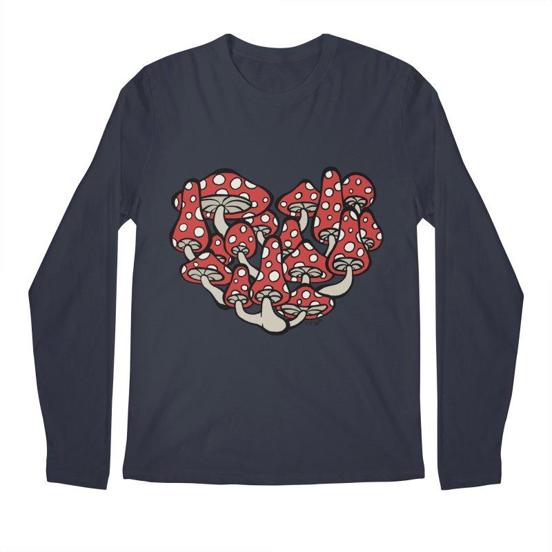 Heart Made of Mushrooms Men's Longsleeve T-Shirt by brettgilbert's Artist Shop